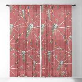 Watercolor Graphic Spider Crawl, Golden Orb Weaver Crimson Sheer Curtain