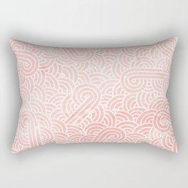 Rose quartz and white swirls doodles Rectangular Pillow