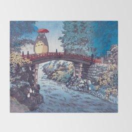 My neighbour Toto vintage japanese mashup Throw Blanket