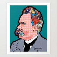 nietzsche Art Prints featuring Mix - Nietzsche by Greg-Guillemin