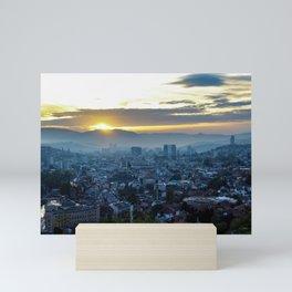 Panorama of the city of Sarajevo during sunset Mini Art Print