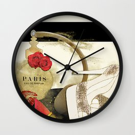 Paris Eu de parfum, Heels & Lipstick Wall Clock