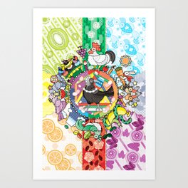 colorful hue circle gradation with black and white crow Art Print