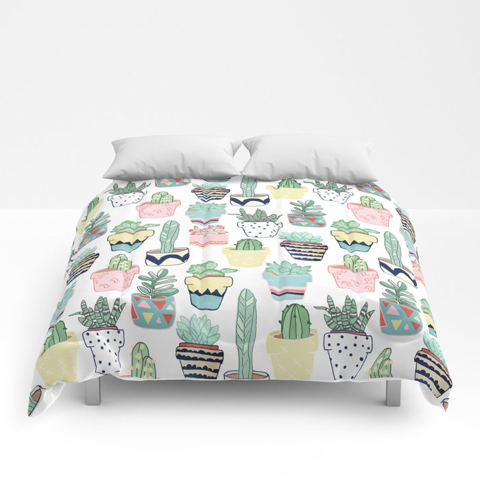 Cute Cacti in Pots Comforters