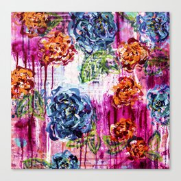 Wild at heart - Flower painting - Abstract Canvas Print