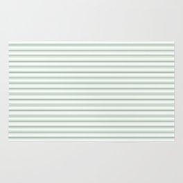 Mattress Ticking Narrow Horizontal Striped Pattern in Moss Green and White Rug