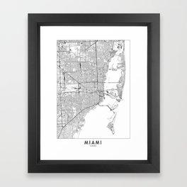 Miami White Map Framed Art Print