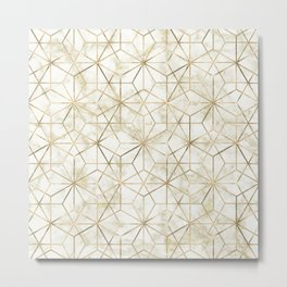 Modern gold and marble geometric star flower image Metal Print