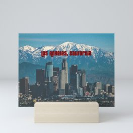Los Angeles California in the Winter with San Gabriel Mountains Mini Art Print