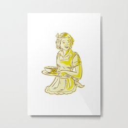 Homemaker Serving Bowl of Food Vintage Etching Metal Print