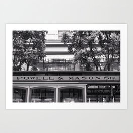 San Francisco Cable Car Black and White Art Print