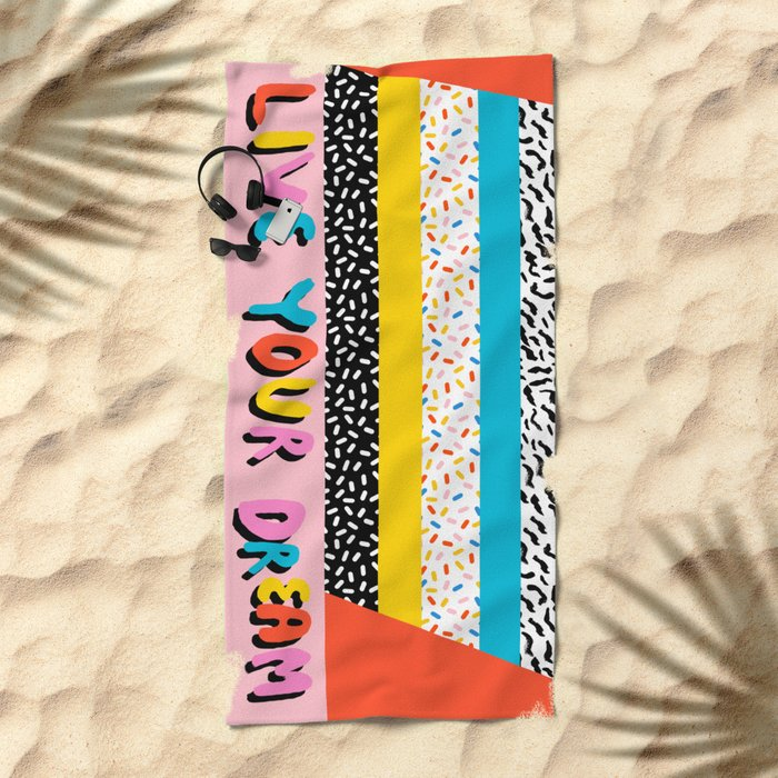 Ya Heard - 1980's throwback retro pattern memphis-style hipster bright colorful pop art minimal rad Beach Towel
