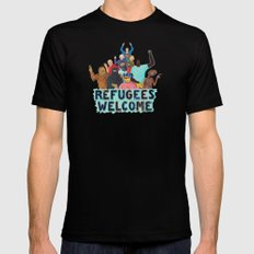 refugees welcome Black MEDIUM Mens Fitted Tee