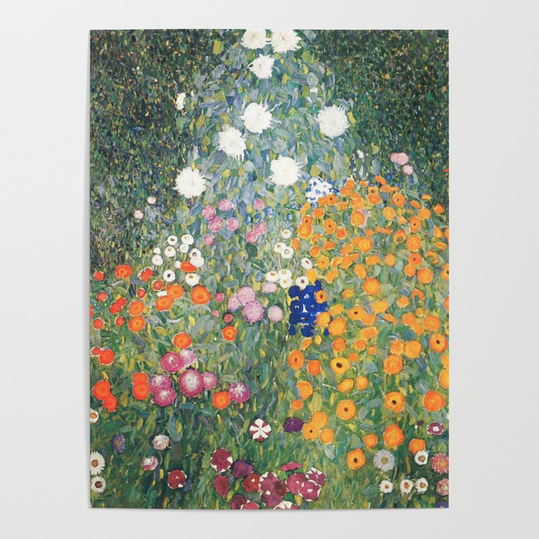 cottage flower garden gustav klimt painting poster by historystuff
