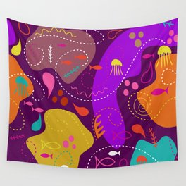 Mid Century Modern With Sea Life Wall Tapestry