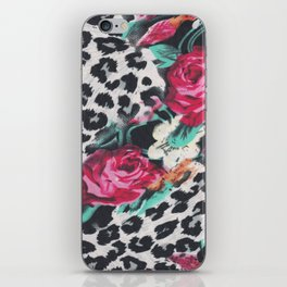 Vintage black white pink floral cheetah animal print iPhone Skin
