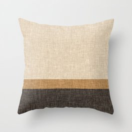 Brown and Caramel Simple Stripe Abstract Throw Pillow