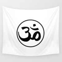 om Wall Tapestries featuring Om by Albino Chewbacca