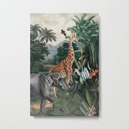 Vintage & Shabby Chic- Antique Beautiful Animal Jungle Forest Metal Print