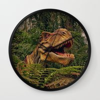 t rex Wall Clocks featuring T Rex by Shalisa Photography