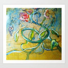 Sumie flowers on the run Art Print