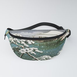12,000pixel-500dpi - Kawase Hasui - Snow In The Seichoen - Digital Remastered Edition Fanny Pack