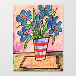 Blue flowers in a stripe vase Canvas Print