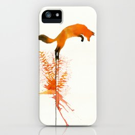 w- red fox jumps iPhone Case