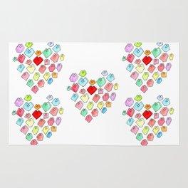 Love Unites heart pattern love illustration watercolor minimalist nursery wedding gift pastel colors Rug
