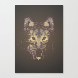 Wolf in the darkness  Canvas Print