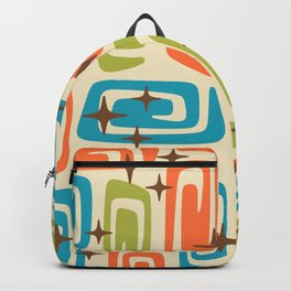 Mid Century Modern Cosmic Galaxies 726 Orange Turquoise and Chartreuse Backpack