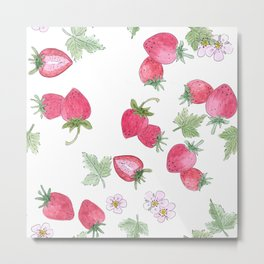 Watercolor . Strawberry on a White background . Metal Print