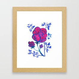 Rose and Japanese Tree Framed Art Print
