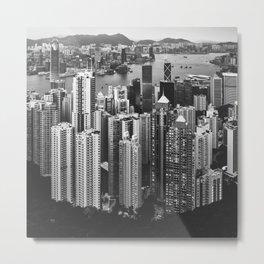 Hong Kong in Black & White Metal Print