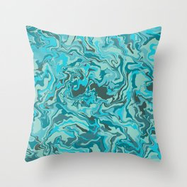 Blue and Teal Abstract Art Throw Pillow