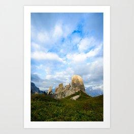 Cinque Torri rock formationas at sunset. Cortina d'Ampezzo, Dolomites, Italy Art Print