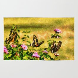 Three Giant Swallowtails - Monet Style Rug