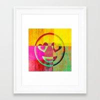 emoji Framed Art Prints featuring Emoji cushion by Sw19Gallery