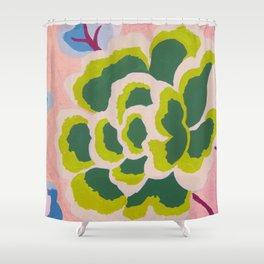 Big Japanese Flower On Pink Background Shower Curtain