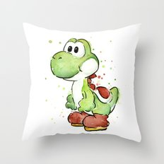 Yoshi Watercolor Mario Throw Pillow