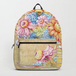 October  Floral Basket Watercolor Backpack