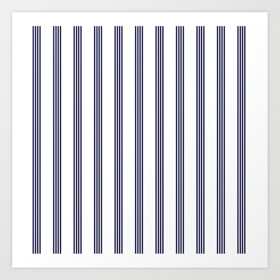 Blue- White- Stripe - Stripes - Marine - Maritime - Navy - Sea - Beach - Summer - Sailor Art Print