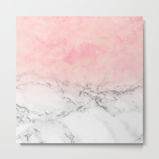 Modern blush pink watercolor ombre white marble Metal Print