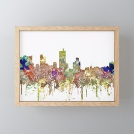 Fort Worth, Texas Skyline - Faded Glory Framed Mini Art Print
