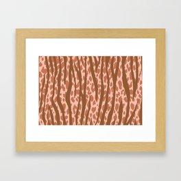 Autumn Brown Leopard Stripes Pattern Framed Art Print