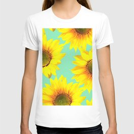 Sunflowers on a pastel green backgrond - #Society6 #buyart T-shirt