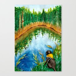 Black Labrador Retriever & Lake Watercolor Canvas Print