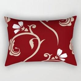 Decorative Floral Pattern 26 - Lonestar Red, Akaroa, White Rectangular Pillow