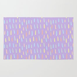 Modern violet teal yellow watercolor brushstrokes pattern Rug