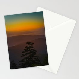 Pretty Pastel Yellow Red Green Sunset With Lone Pine Tree Silhouette Stationery Cards